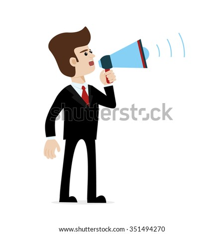 A caucasian businessman in suit shouting with megaphone. Vector art on white isolated background. Illustration for public announcement, advertising, communication, protesting, important message etc. - stock vector