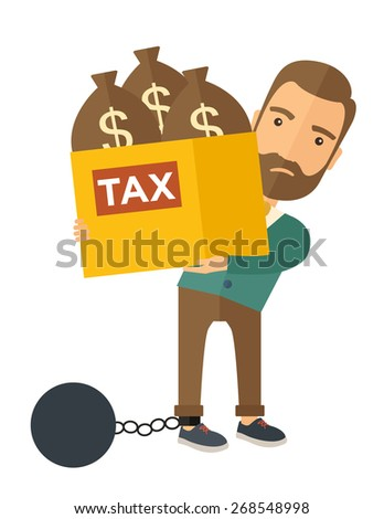 A Caucasian businessman locked in a debt ball in chain for commiting crime in tax ivasion. Debt concept. A Contemporary style. Vector flat design illustration isolated on white background. Vertical - stock vector