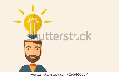 A Caucasian businessman with beard has a bright idea for marketing strategy with a bulb on his head. Human intelligence concept. A contemporary style with pastel palette, beige tinted background