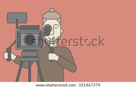 A caucasian cameraman with beard looking through movie camera on a tripod. Vector line design illustration. Horizontal layout with a text space for a social media post. - stock vector