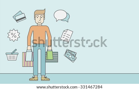 A caucasian customer carrying bags and some icons around him on blue background. Vector line design illustration. Horizontal layout with a text space for a social media post. - stock vector