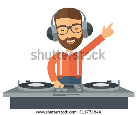 A caucasian disc jockey with headphone mixing music.  A Contemporary style. Vector flat design illustration isolated white background. Horizontal layout - stock vector
