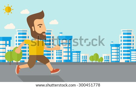 A caucasian do a jogging exercise under the heat of the sun. Healthy concept. Contemporary style with pastel palette, soft blue tinted background with desaturated cloud. Vector flat design - stock vector