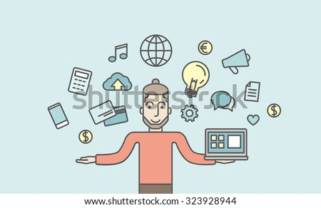 A caucasian hipster man holding a laptop. Social media concept. Vector line design illustration. Horizontal layout with a text space. - stock vector