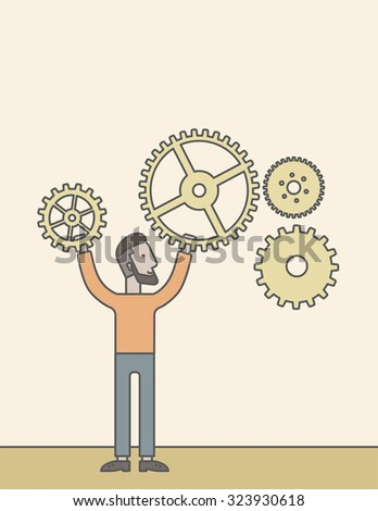 A caucasian hipster man holding gears. Vector line design illustration. Vertical layout with a text space.