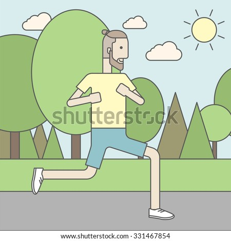 A caucasian hipster man with beard jogging in the park. Vector line design illustration. Square layout. - stock vector