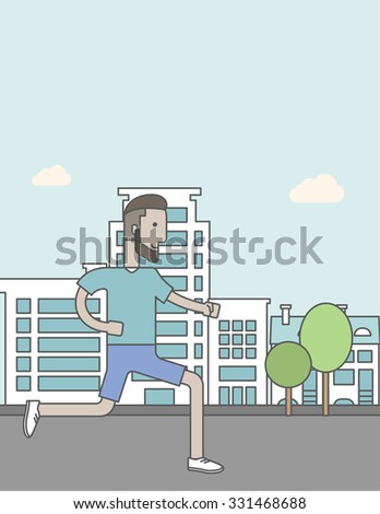 A caucasian hipster man with beard jogging on street. Vector line design illustration. Lifestyle concept. Vertical layout with a text space for a social media post. - stock vector