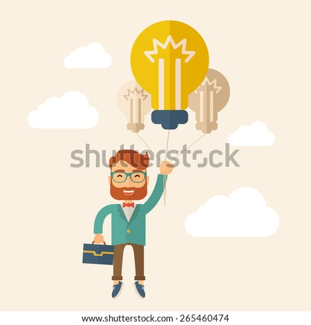 A Caucasian hipster with beard carrying a briefcase with bulb as balloon to take him fly high. Happy and success concept. A contemporary style with pastel palette, beige tinted background