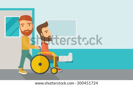 A caucasian man pushing the wheelchair with broken leg patient. Contemporary style with pastel palette, soft blue tinted background. Vector flat design illustrations. Horizontal layout with text space - stock vector