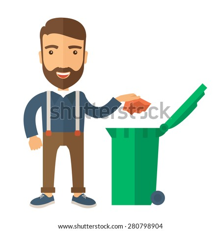 A caucasian man throwing a crumpled paper in a green garbage bin. A Contemporary style. Vector flat design illustration isolated white background. Square layout  - stock vector