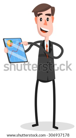 A Caucasian with beard standing while holding besides a big screen tablet. A Contemporary style. Vector flat design illustration with isolated white background. Square layout - stock vector