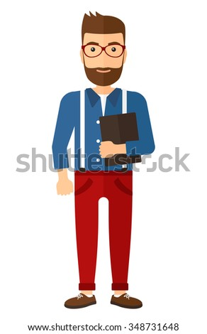 A caucasian young hipster man with the beard standing with tablet computer in hand vector flat design illustration isolated on white background. Vertical layout. - stock vector