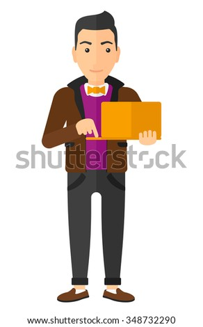 A caucasian young man standing with laptop in the hands vector flat design illustration isolated on white background. Vertical layout. - stock vector
