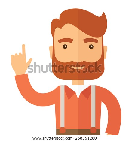 A Caucasian young successful man happy raising his one arm showing that he is number one. Winner concepA contemporary style. Vector flat design illustration with isolated white background. Square - stock vector