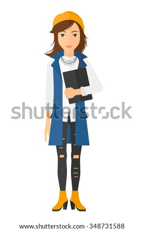 A caucasian young woman standing with tablet computer in hand vector flat design illustration isolated on white background. Vertical layout. - stock vector