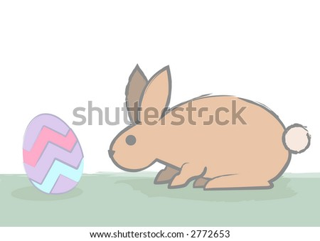 A cautious easter bunny checks out an easter egg by sniffing. - stock vector