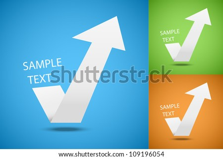 A check mark in the form of the up arrow - stock vector