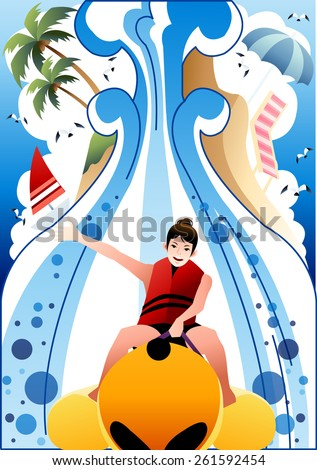 A Cheerful Cute Girl and Summer Tropical Island - a happy young female enjoying fun with stretching her hand on banana boat on a background with bright blue sky and white clouds : vector illustration - stock vector