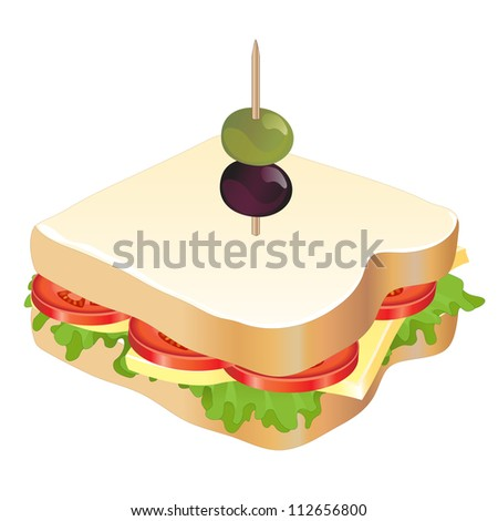 A cheese and tomato sandwich isolated on white background. EPS10 vector format. - stock vector