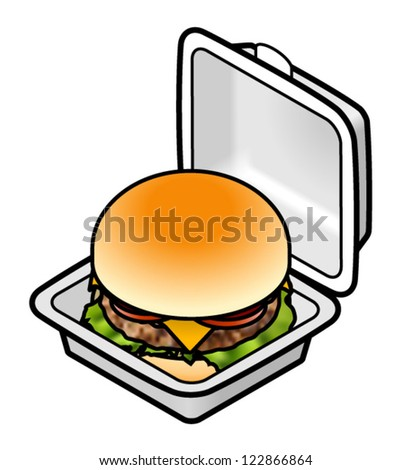 A cheeseburger/hamburger in a square styrofoam takeaway container.