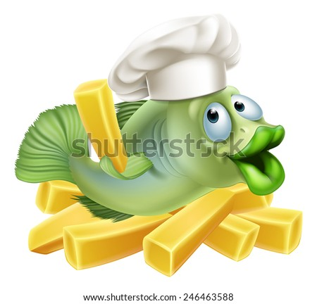 A chef fish character with a chefs hat on with chips - stock vector
