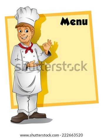 A chef standing in front of menu board.