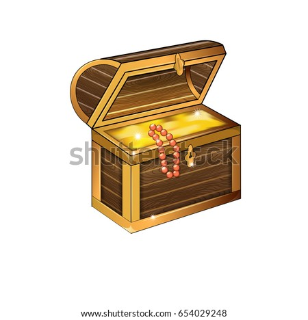 A chest of gold in a cartoon style. Pirate treasure. Vector illustration.