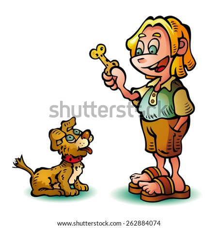 A child and his cute dog are happy. - stock vector