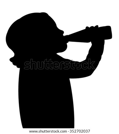 a child drinking water, silhouette vector