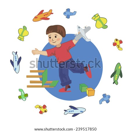 A child plays with toy airplane pilot - stock vector