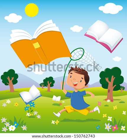 a child running through the fields in bloom chasing flying books.