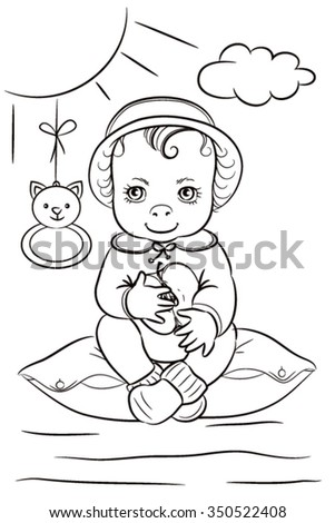 A child sitting on a bed and eating an apple. Illustration for coloring. One color. Line drawing.
