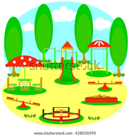 a children's playground with a slide, swings, roundabouts, sandpit, horizontal bar and other - stock vector