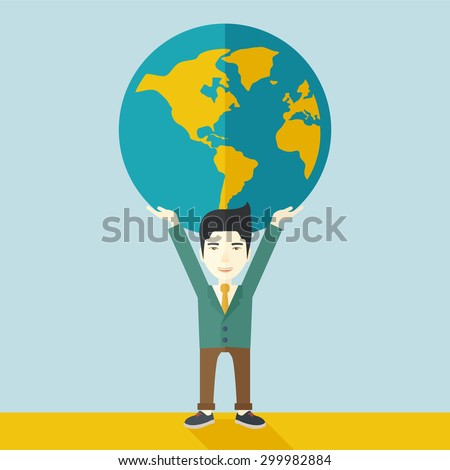 A chinese businessman carrying big globe it is a symbol that he is number one in the world in business society. A Contemporary style with pastel palette, soft blue tinted background. Vector flat - stock vector