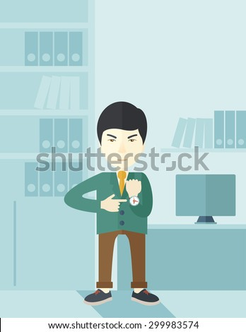 A chinese manager is angry pointing finger to his wristwatch showing the time that is already late for the employees to arrive. Late concept. A contemporary style with pastel palette soft blue tinted - stock vector