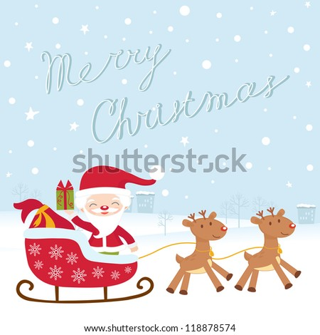 A Christmas card with santa in sledge - stock vector
