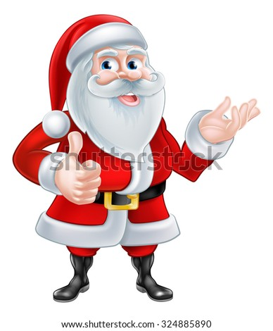 A Christmas cartoon illustration of Santa Claus giving a thumbs up