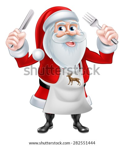 A Christmas cartoon illustration of Santa Claus holding a knife and fork and wearing an apron - stock vector