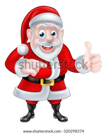 A Christmas cartoon illustration of Santa Claus pointing and giving a thumbs up gesture - stock vector