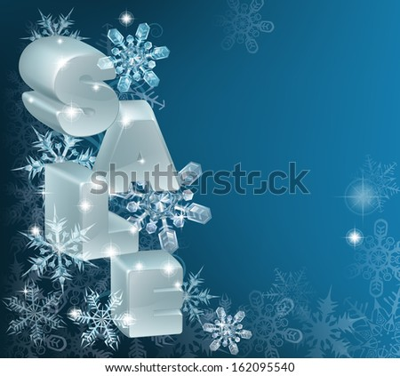 A Christmas or New Year Sale Background with the word sale on hanging ornaments with snowflakes and framed copy-space