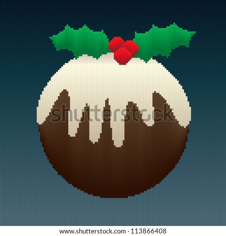 A Christmas pudding design made entirely of stripes in coloured gradients giving an 8-bit look to the image. - stock vector
