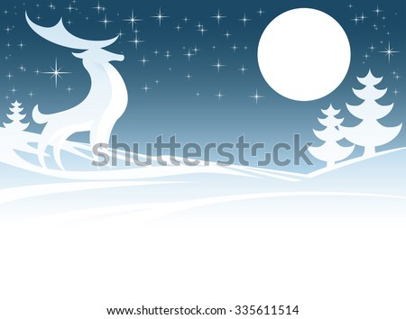 A Christmas winter scene with a stylized stag male deer and full moon in snow scape with Christmas trees - stock vector