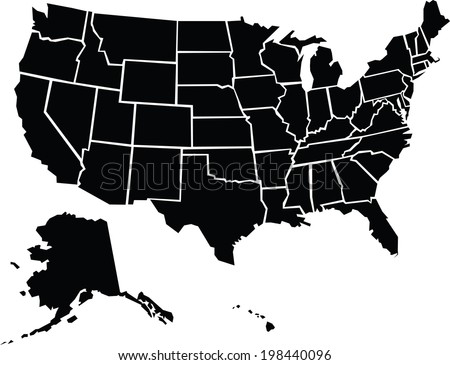 Chunky Cartoon Map Usa Including Alaska Stock Vector 198440096
