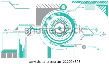 A circle based HUD vector graphic suitable for video games or movies.