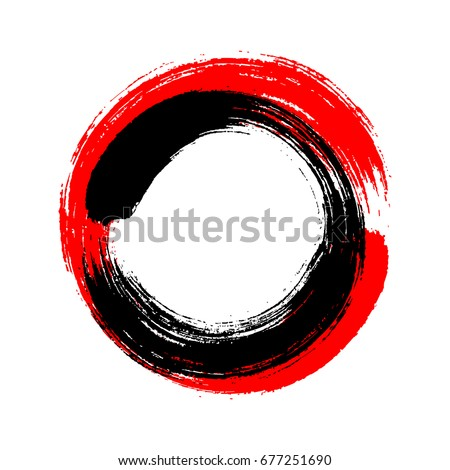 A circle drawn by a Chinese brush red and black paint