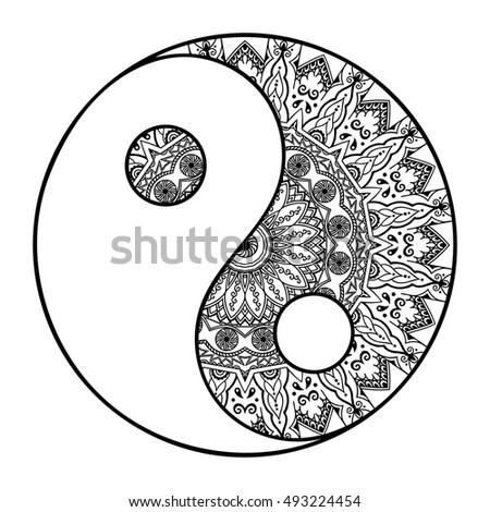 Yin Yang Tattoo Art Vector Black Stock Vector 524686042