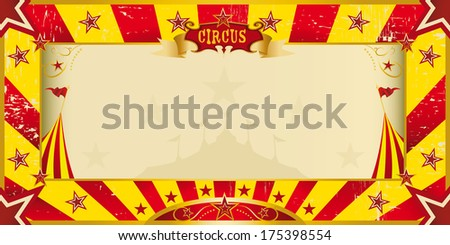 A circus yellow and red invitation for your show - stock vector