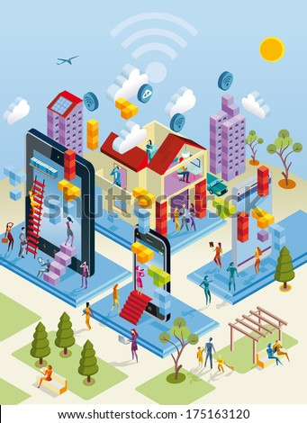 A city internet network with wireless and giants computing devices (as computer, digital tablet, mobile phone) in isometric view. - stock vector