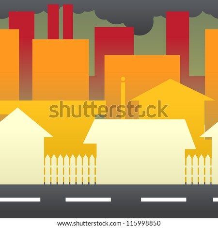 A city showing suburban homes, buildings, and factories against a backdrop of smoke that has polluted the skies. - stock vector