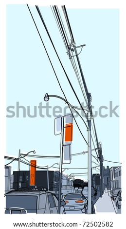 a cityscape image with a busy downtown street - stock vector